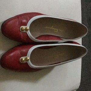 Salvatore Ferragamo red leather pumps